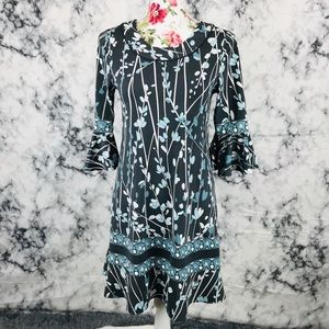 BCBG Maxazria Small black&blue floral dress